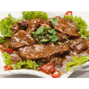 Beef with dark – pepper sauce