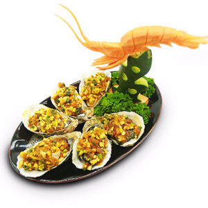 Grilled oyster with onion
